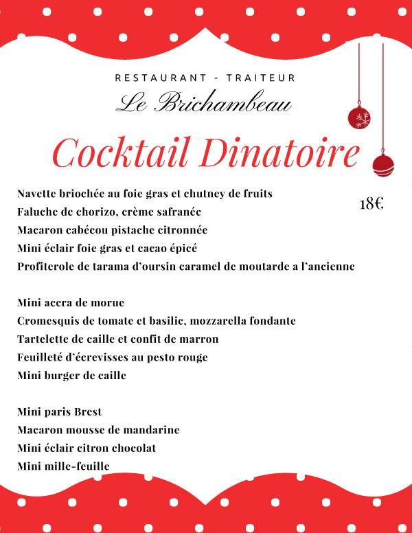contenu du cocktail dinatoire 2017 proposé par le Restaurant brichambeau
